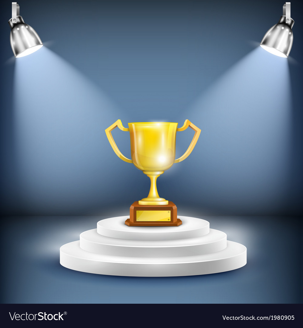 Shiny podium with trophy cup vector | Price: 1 Credit (USD $1)