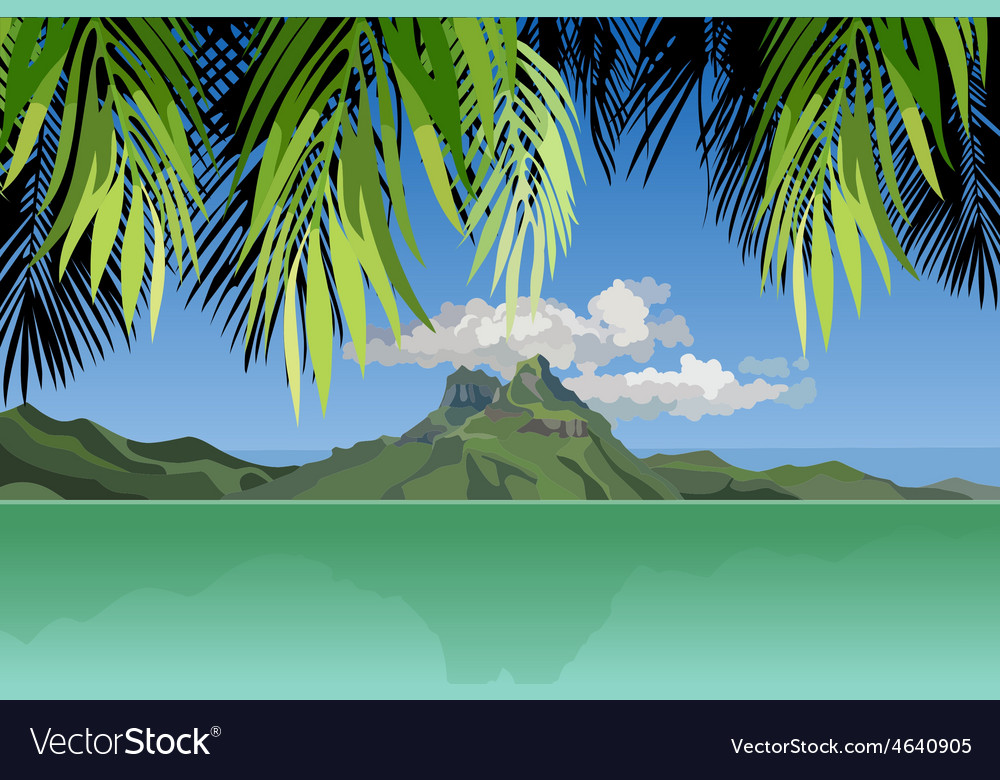 View of the island in the ocean through the palm vector | Price: 1 Credit (USD $1)