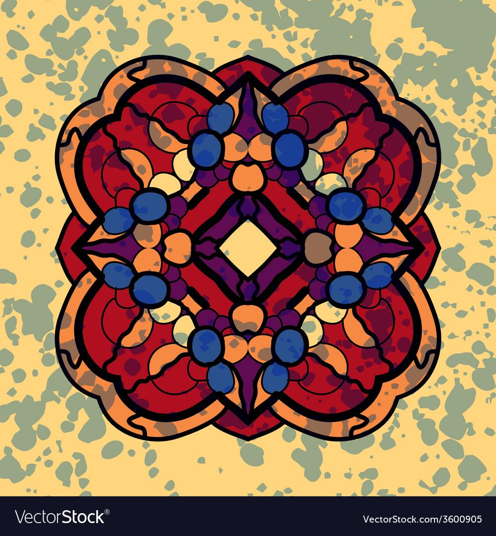 Vintage four sided symmetrical mandala pattern vector | Price: 1 Credit (USD $1)