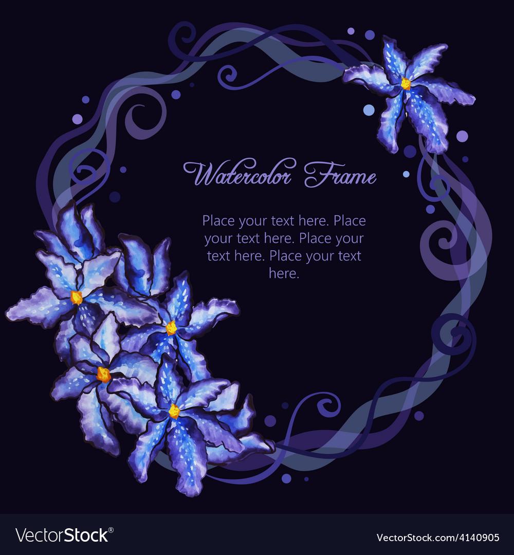 Watercolor floral frame of purple iris vector | Price: 1 Credit (USD $1)
