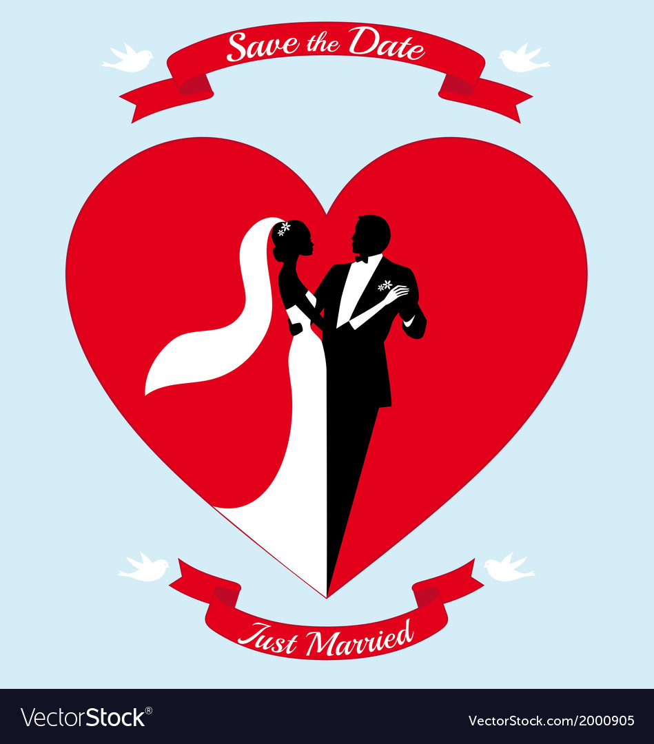 Wedding couple bride and groom in red heart vector | Price: 1 Credit (USD $1)