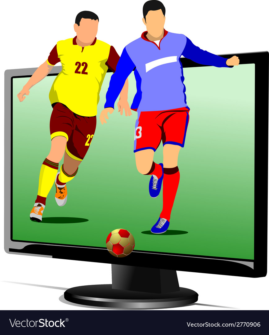 Al 0839 monitor and soccer vector | Price: 1 Credit (USD $1)