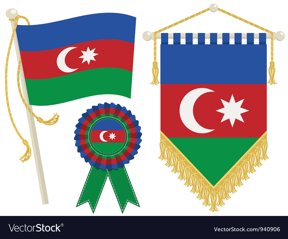 Azerbaijan flags vector | Price: 1 Credit (USD $1)
