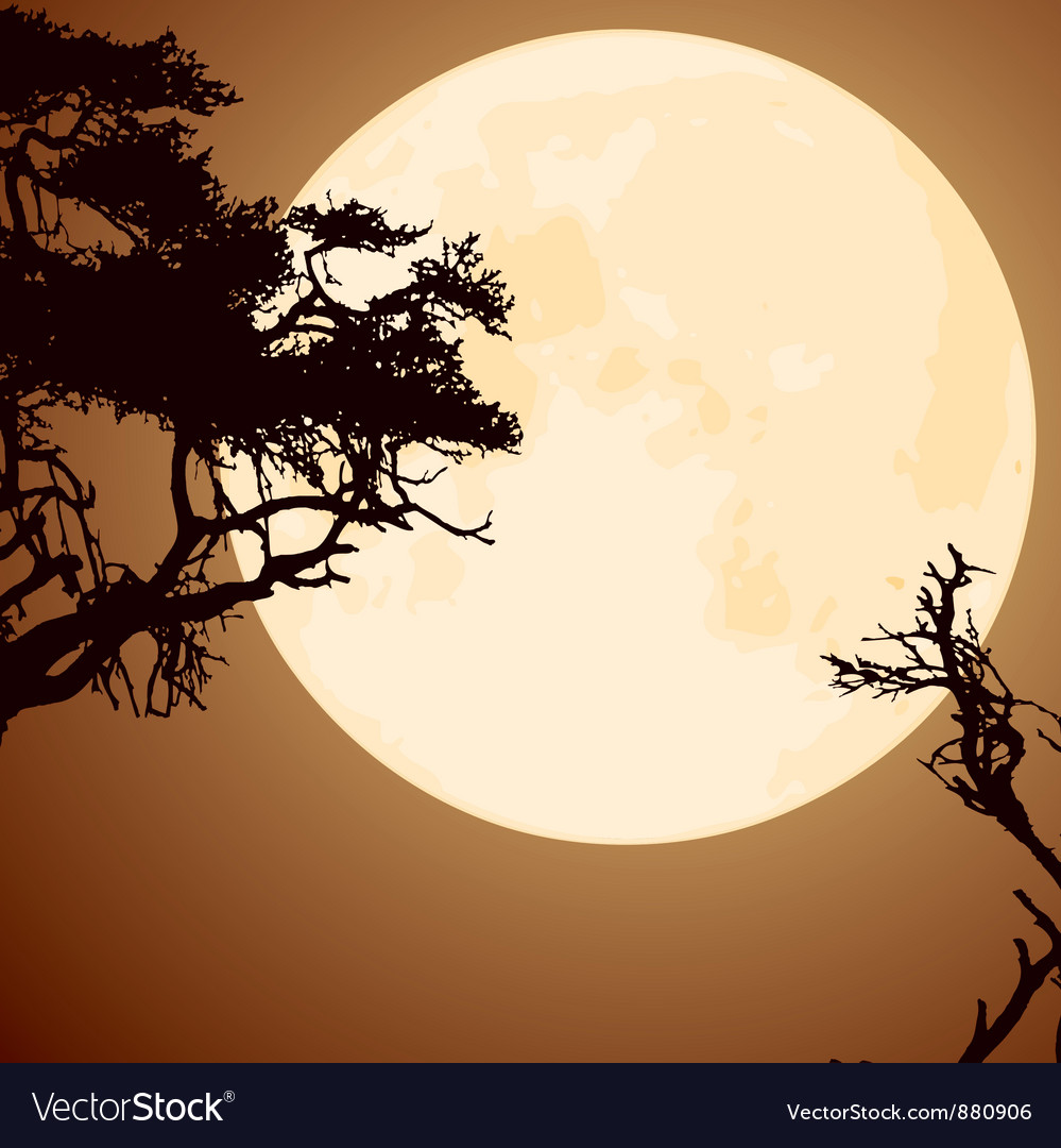 Big yellow moon and silhouettes of tree branches vector | Price: 1 Credit (USD $1)