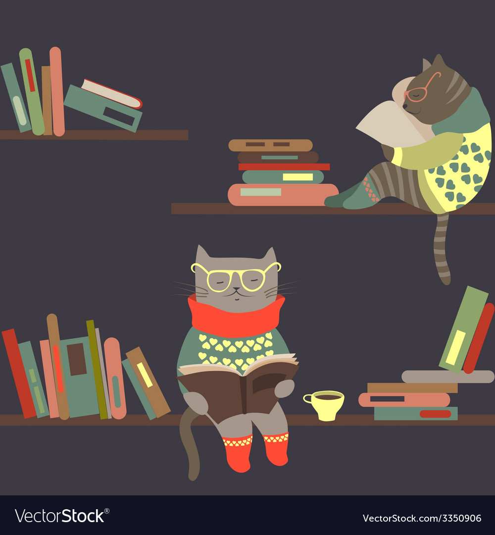 Cats reading books on bookshelves vector | Price: 1 Credit (USD $1)