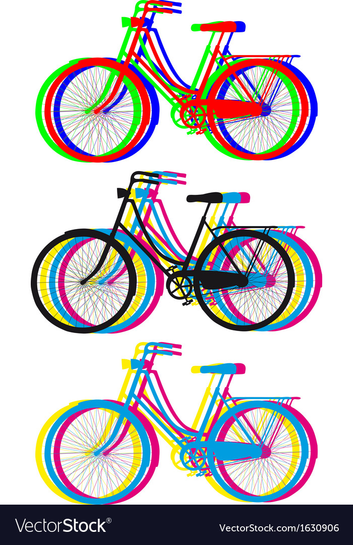 Colorful bicycle silhouettes set vector | Price: 1 Credit (USD $1)