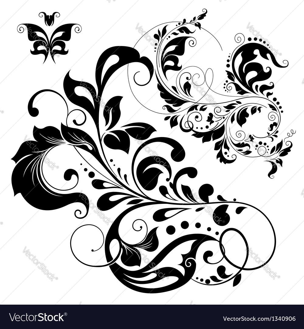 Floral graphic design elements vector | Price: 1 Credit (USD $1)
