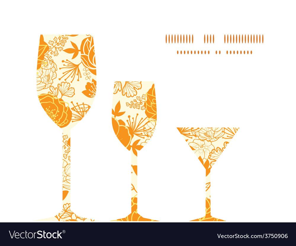Golden art flowers three wine glasses vector   Price: 1 Credit (USD $1)