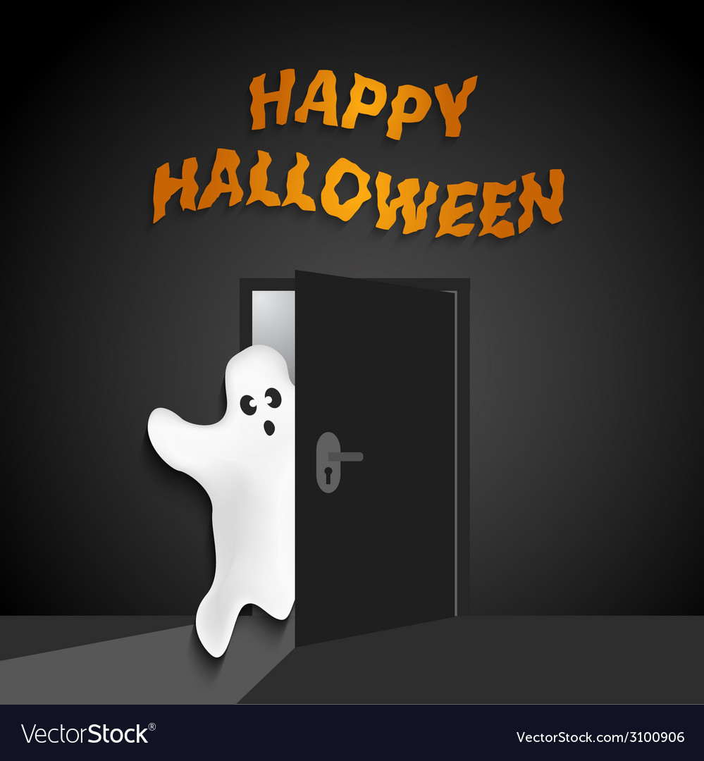 Halloween background with funny ghost opening the vector | Price: 1 Credit (USD $1)