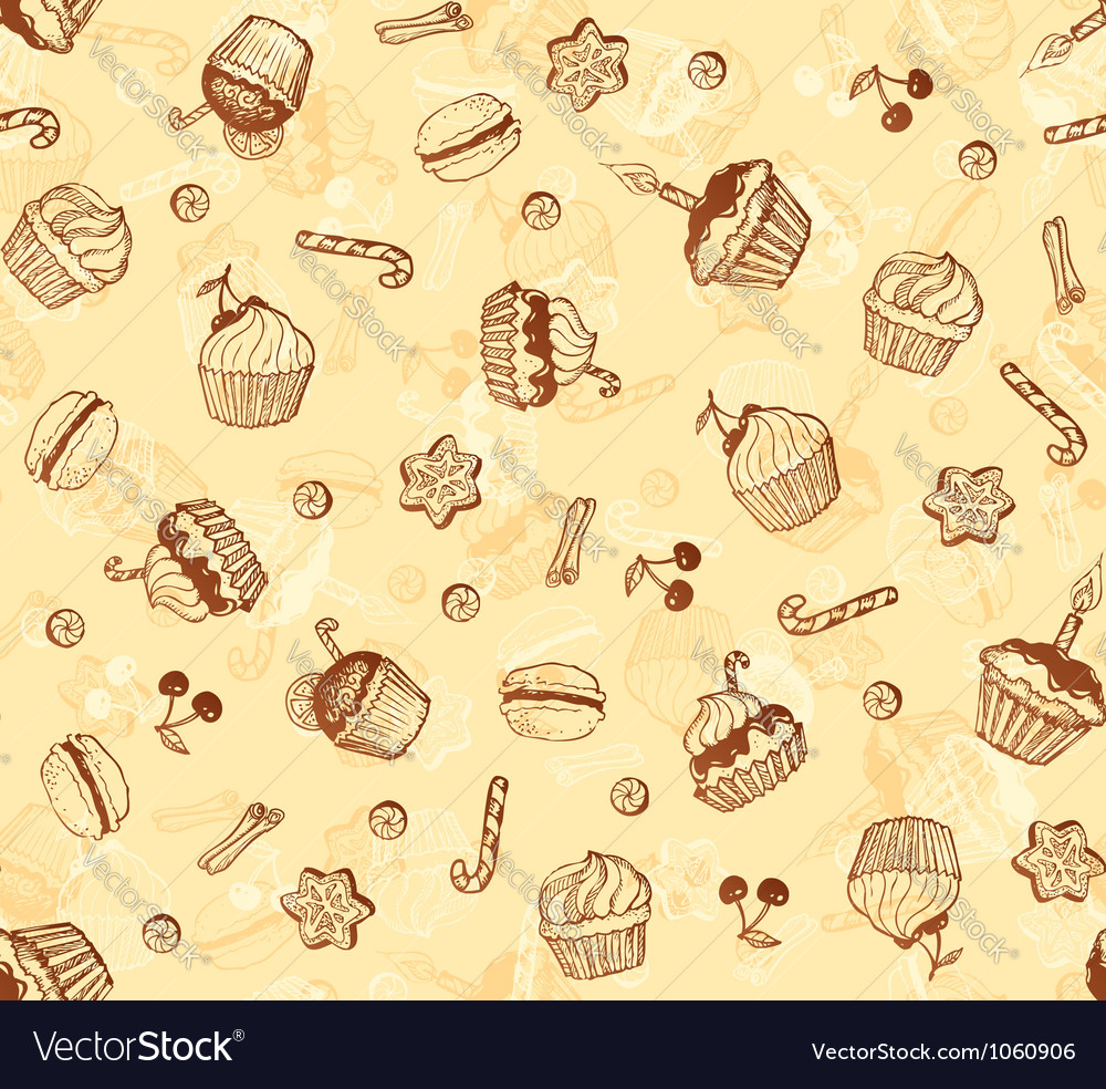 Hand-drawing seamless cupcake pattern vector | Price: 1 Credit (USD $1)