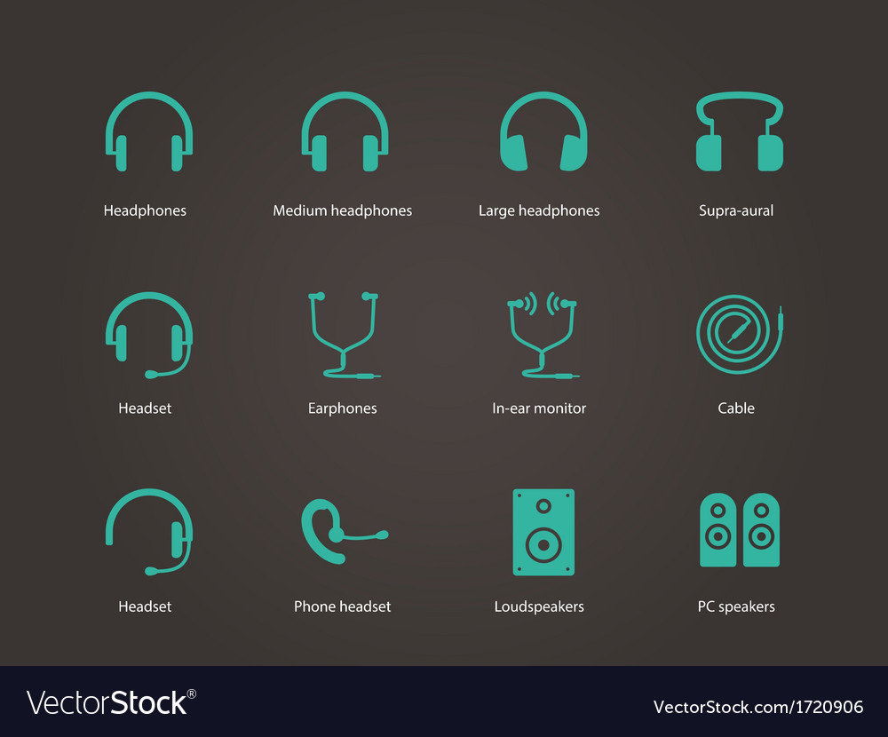 Headphones and speakers icons vector | Price: 1 Credit (USD $1)
