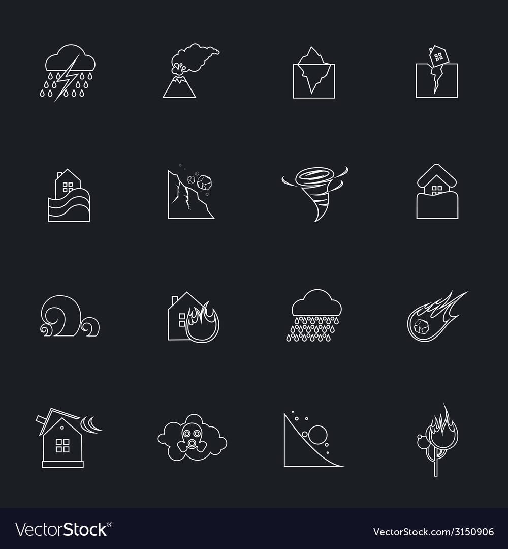 Natural disaster outline icons set vector | Price: 1 Credit (USD $1)