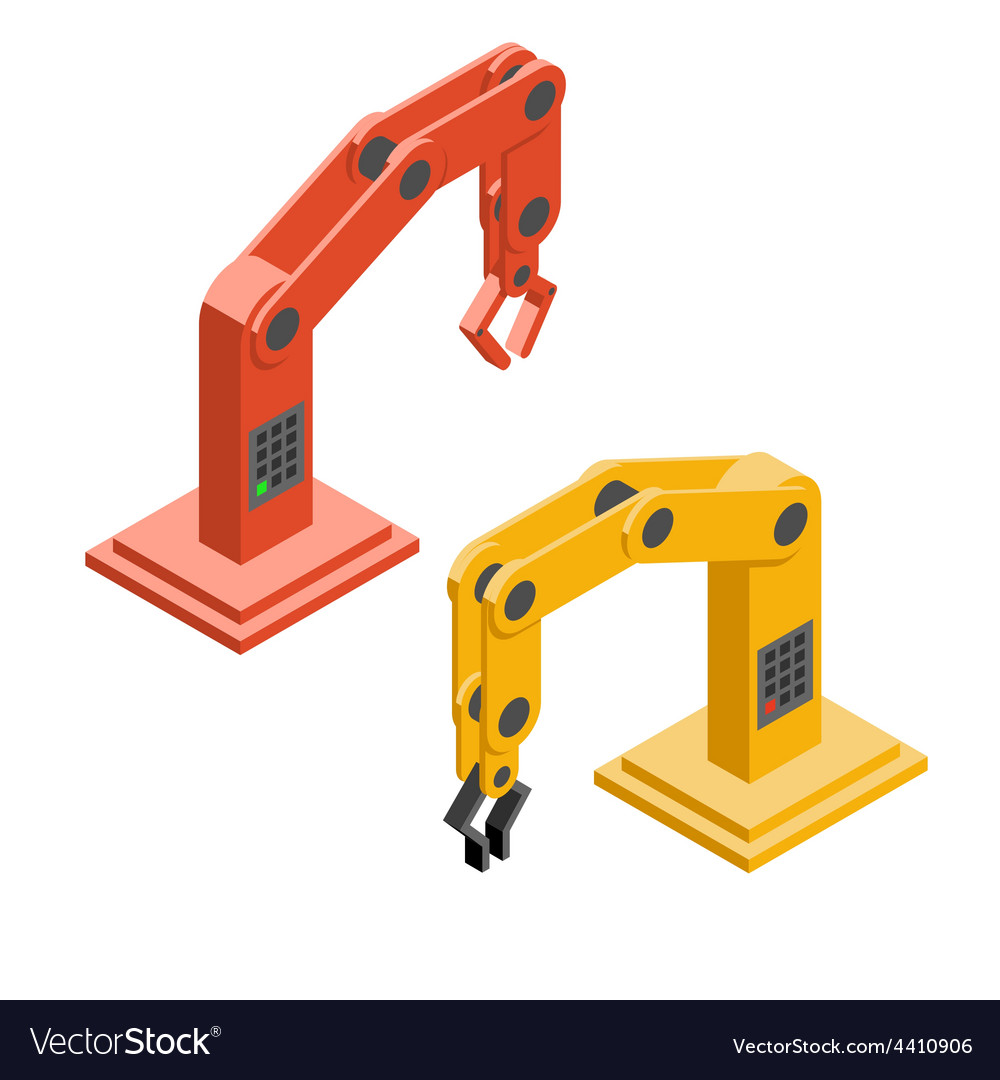 Robot hands industrial robotic arms vector | Price: 1 Credit (USD $1)