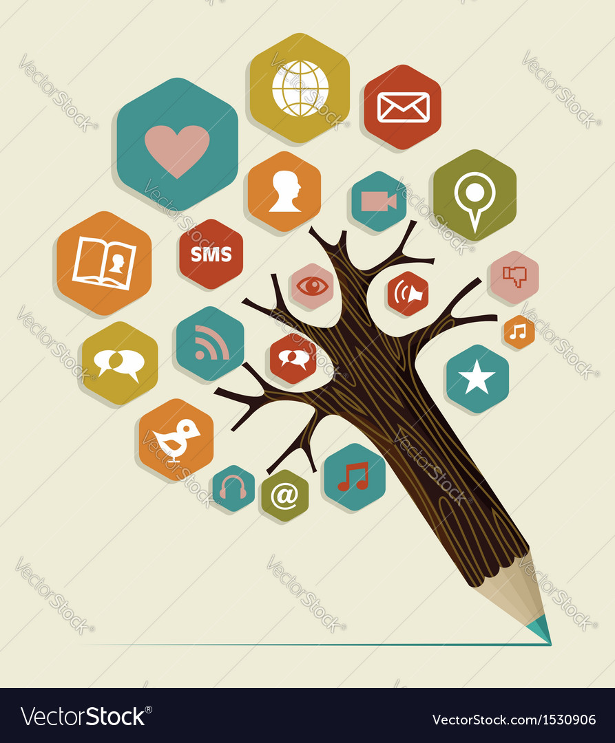 Social media flat icon concept tree vector | Price: 1 Credit (USD $1)