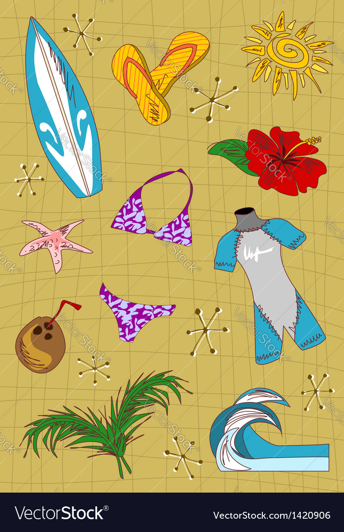 Surfing cartoon icons set vector | Price: 1 Credit (USD $1)