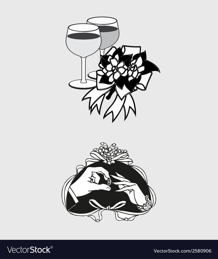 Wedding romantic icon and pictogram flat de vector | Price: 1 Credit (USD $1)