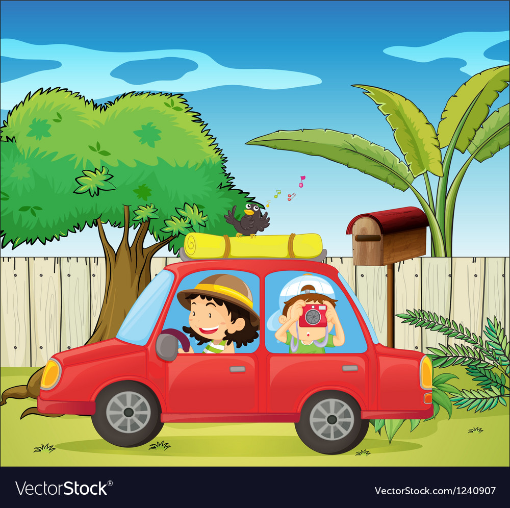 A car at the backyard vector | Price: 1 Credit (USD $1)