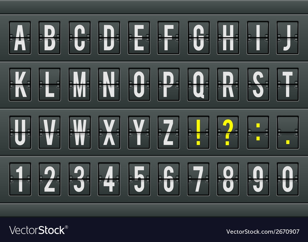 Airport arrival table alphabet with characters and vector | Price: 1 Credit (USD $1)
