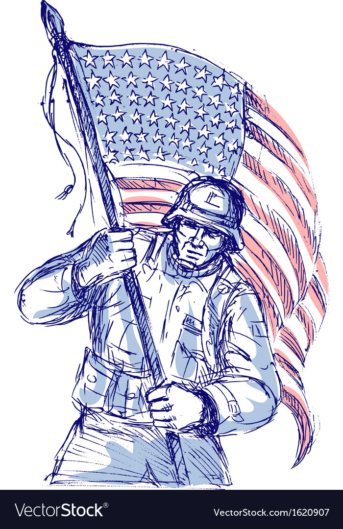 American soldier carrying flag vector | Price: 1 Credit (USD $1)