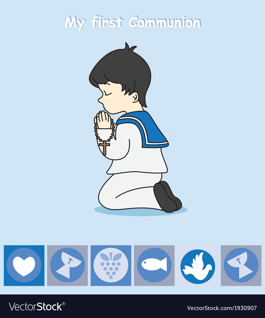 Boy praying vector | Price: 1 Credit (USD $1)