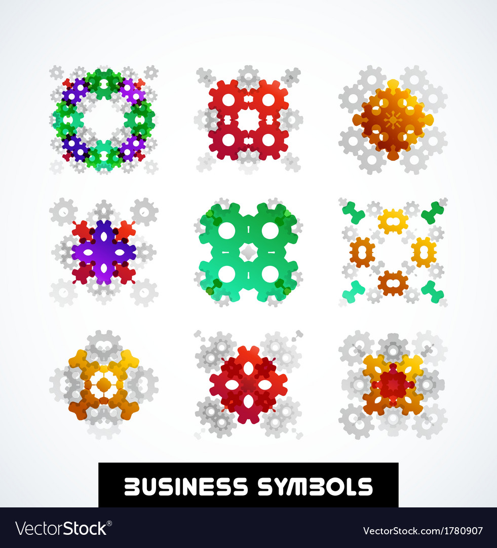 Business geometric shape symbols icon set vector | Price: 1 Credit (USD $1)