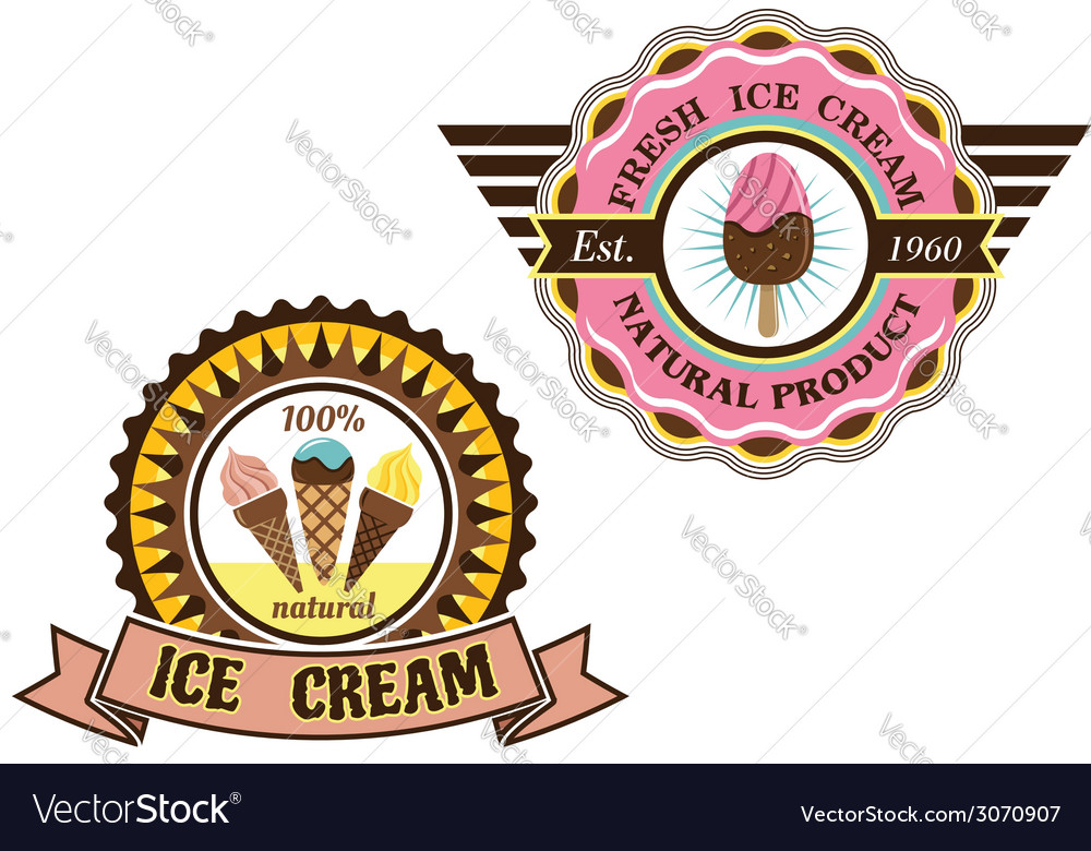 Colorful ice cream labels vector   Price: 1 Credit (USD $1)