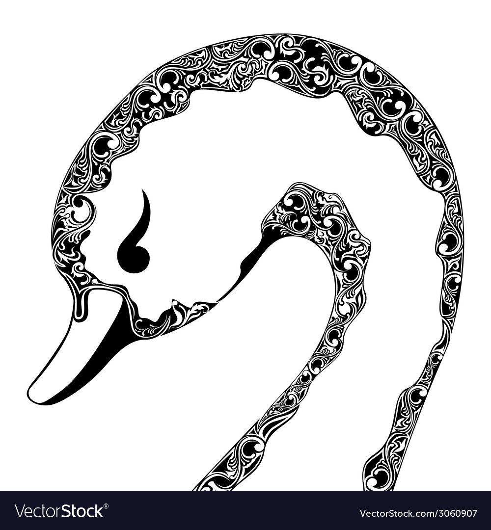 Ornamental swan with raised wings vector | Price: 1 Credit (USD $1)