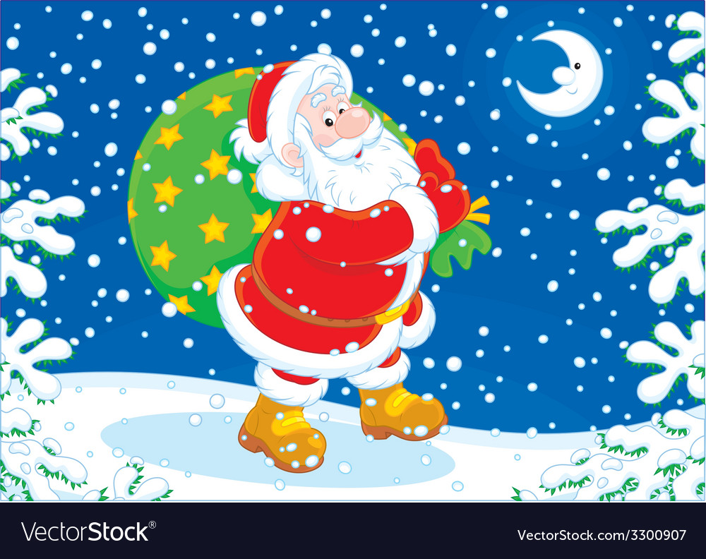 Santa with his bag of gifts vector | Price: 3 Credit (USD $3)