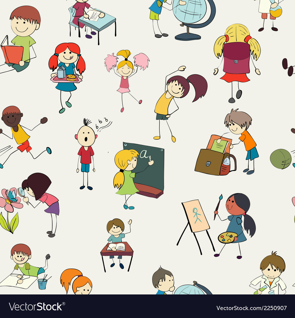 School kids doodle seamless pattern vector | Price: 1 Credit (USD $1)