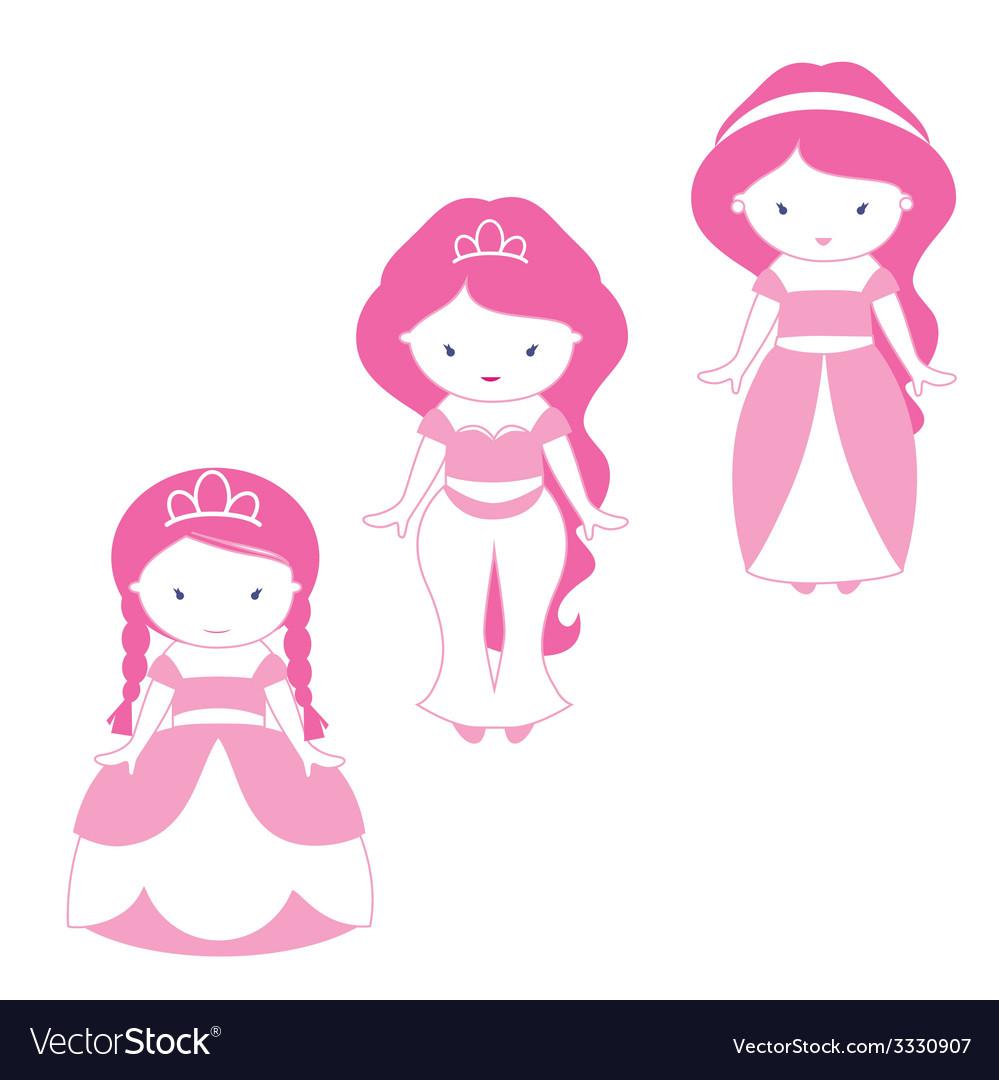 Three princesses vector | Price: 1 Credit (USD $1)