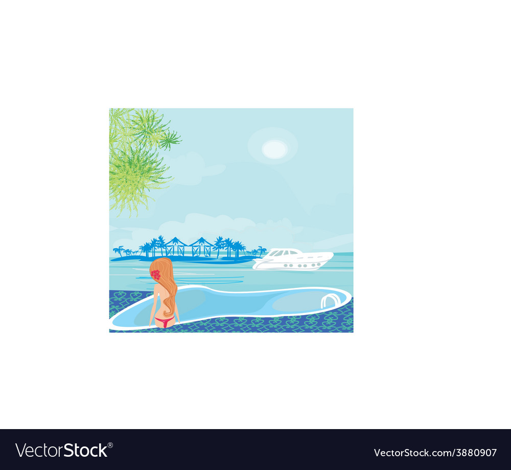 Woman by the swimming pool at luxury tropical vector | Price: 1 Credit (USD $1)