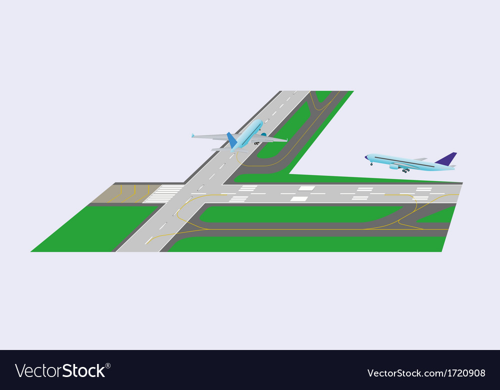 Airplane takeoff from runway vector | Price: 1 Credit (USD $1)