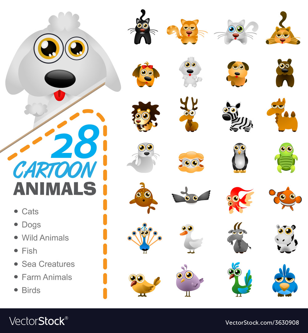 Big set of various cartoon animals and birds vector