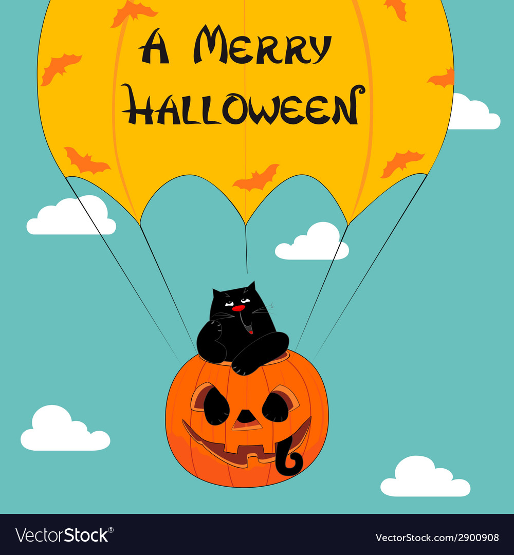 Halloween greeting with funny cat vector | Price: 1 Credit (USD $1)