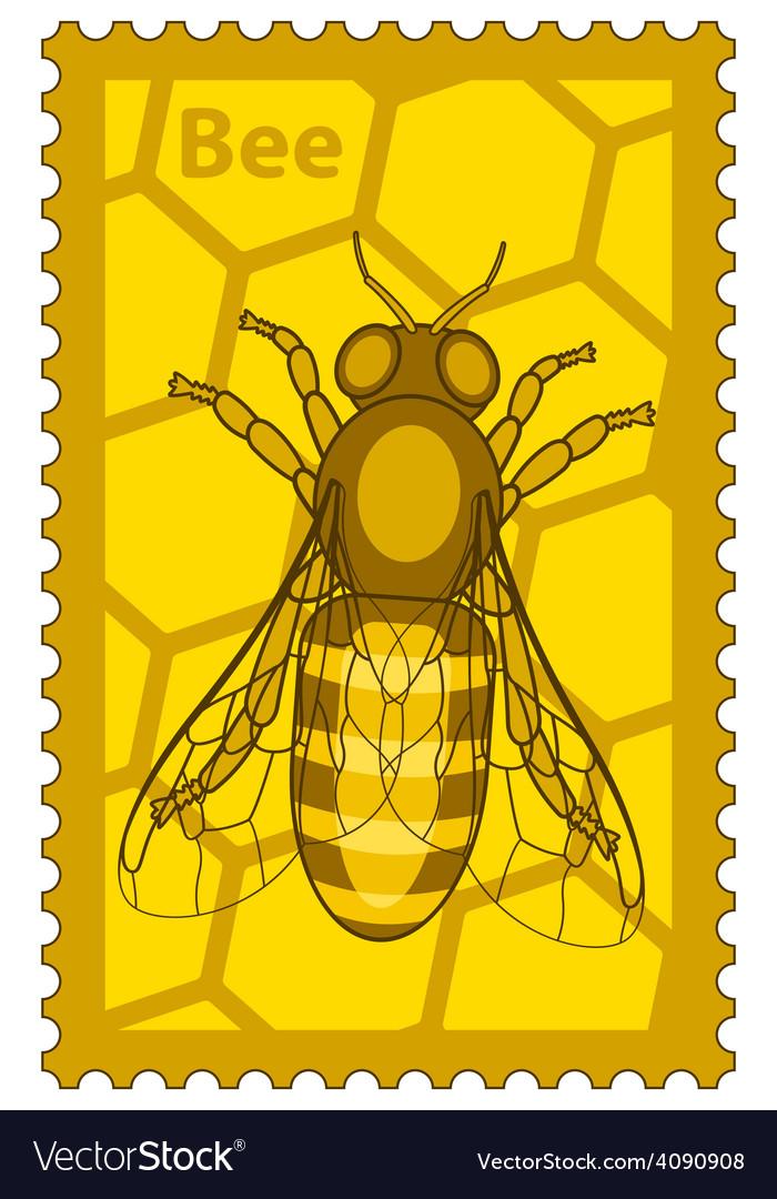 Honeybee stamp vector | Price: 1 Credit (USD $1)
