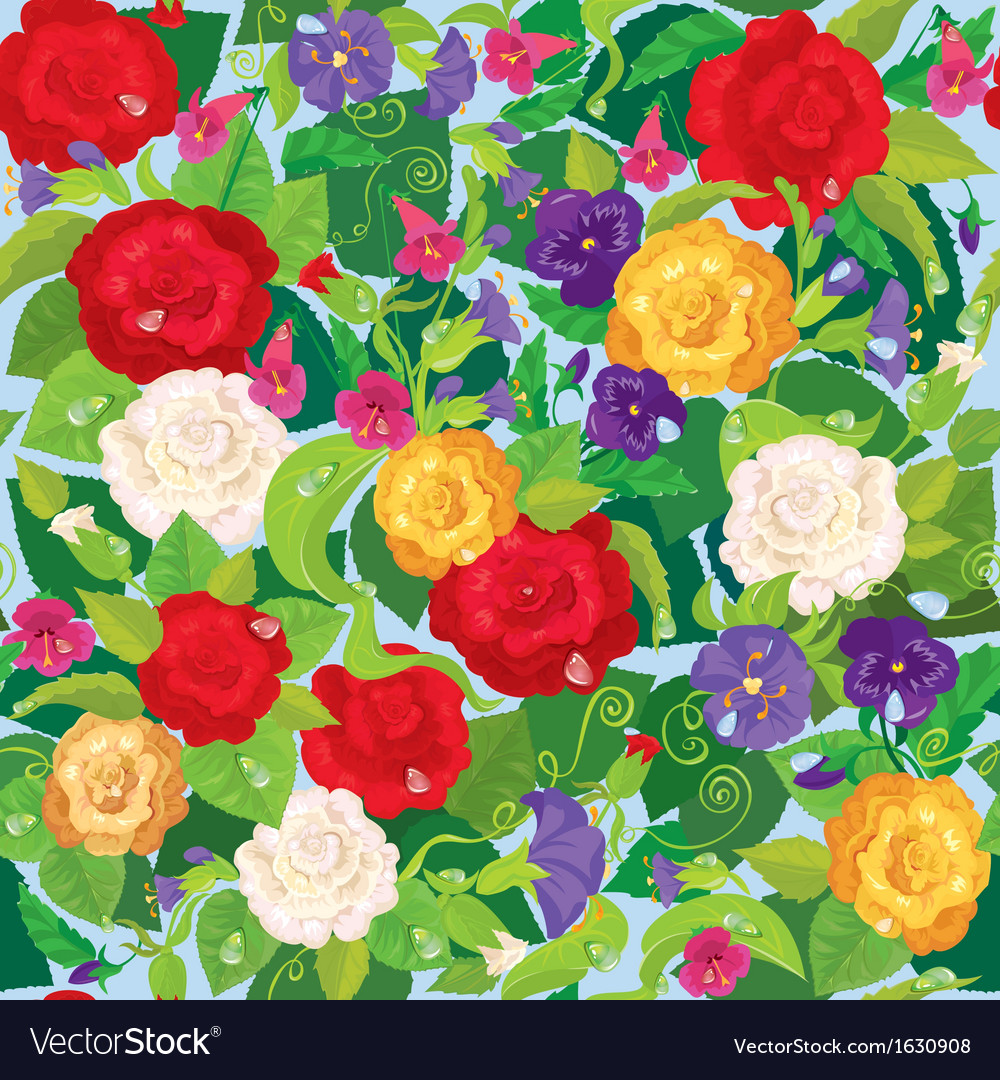 Seamless background with beautiful flowers - rose vector | Price: 1 Credit (USD $1)