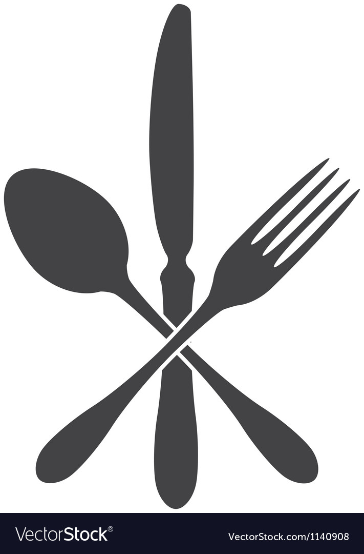 Spoon knife and fork  cross vector