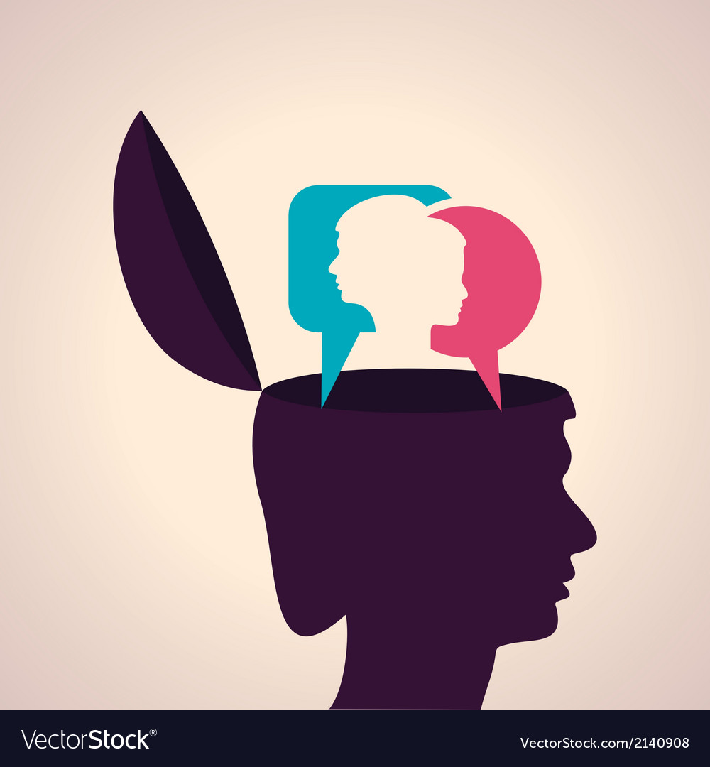 Thinking concept-human head with male and female f vector | Price: 1 Credit (USD $1)