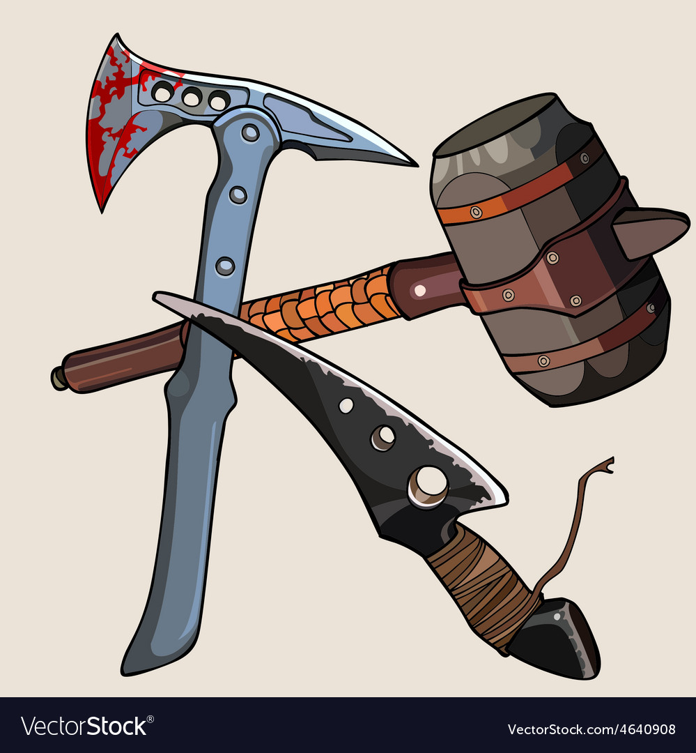 Weapon against the zombies ax knife hammer vector | Price: 3 Credit (USD $3)