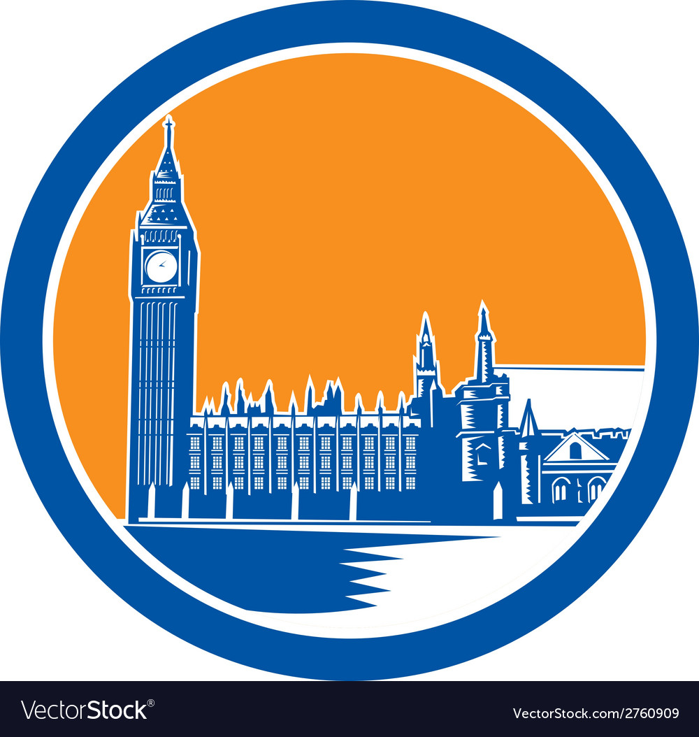 Big ben clock tower westminster palace woodcut vector | Price: 1 Credit (USD $1)