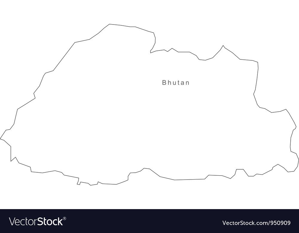 Black white bhutan outline map vector   Price: 1 Credit (USD $1)