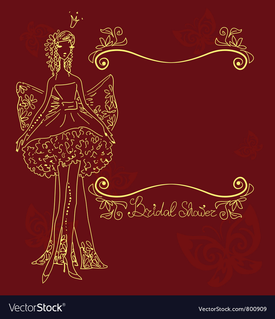 Bridal shower hand drawing card vector | Price: 1 Credit (USD $1)
