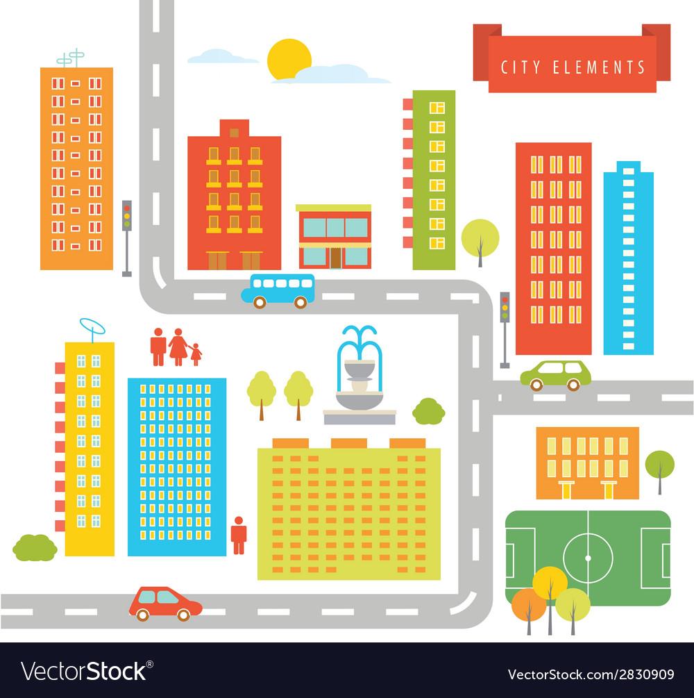 City elements vector | Price: 1 Credit (USD $1)