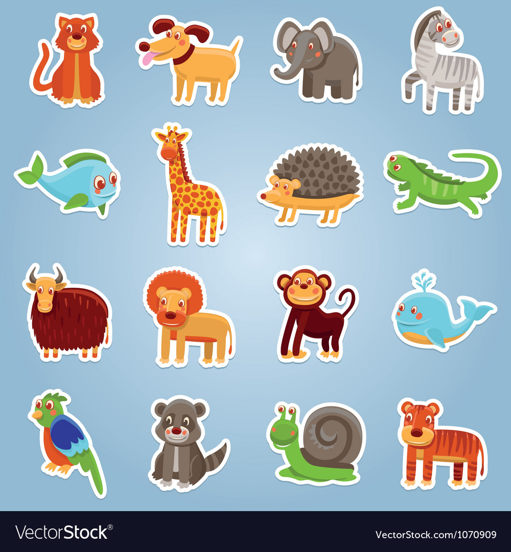 Collection with 16 cartoon animals vector | Price: 3 Credit (USD $3)