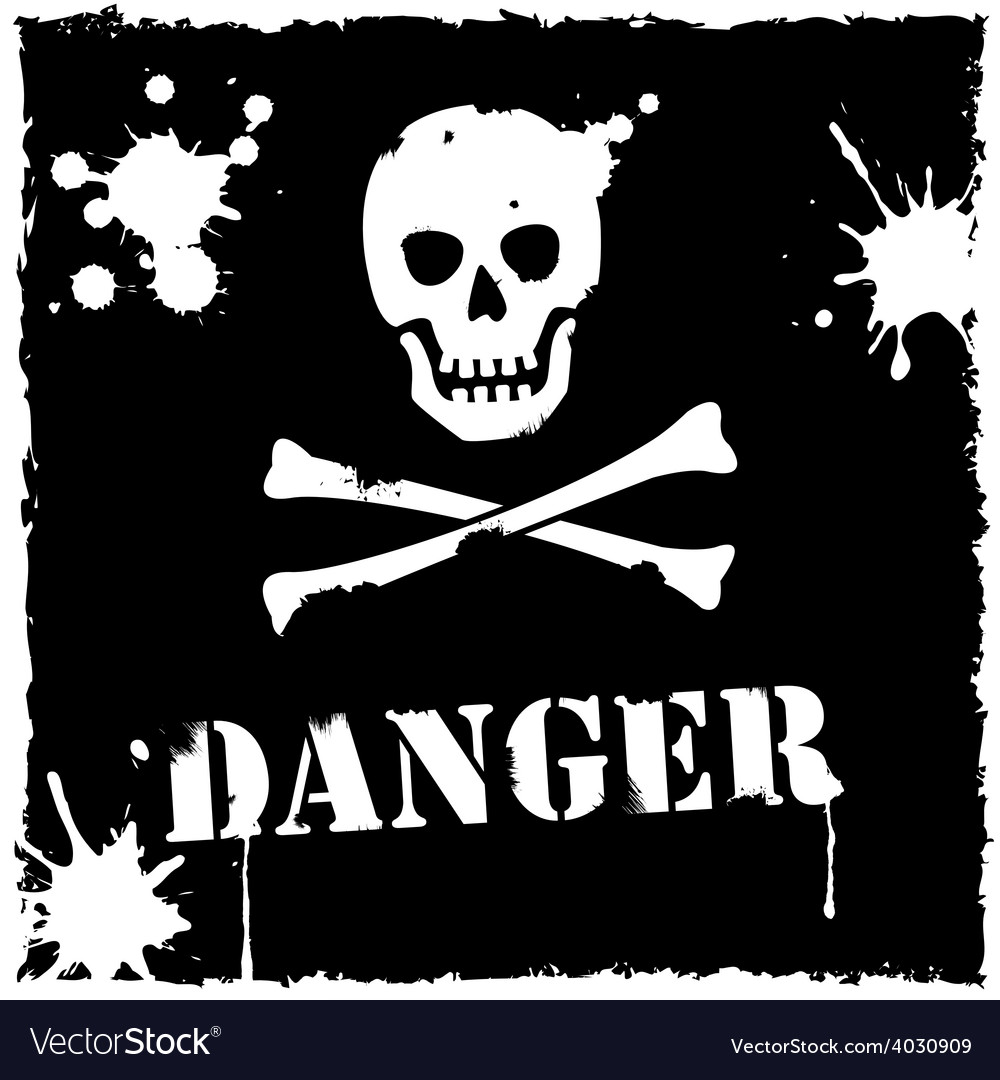 Danger icon black and white vector | Price: 1 Credit (USD $1)