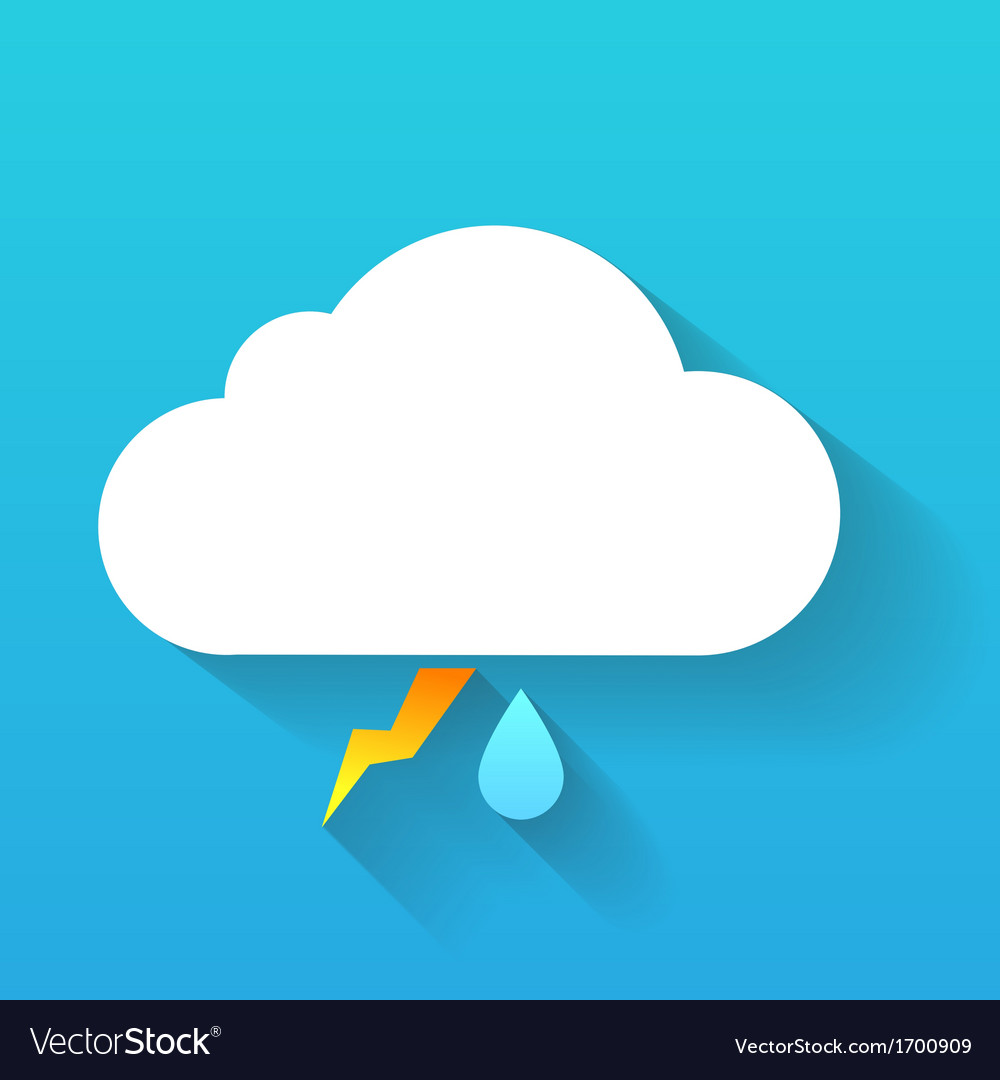 Day cloud lightning and rain drop isolated on blue vector | Price: 1 Credit (USD $1)