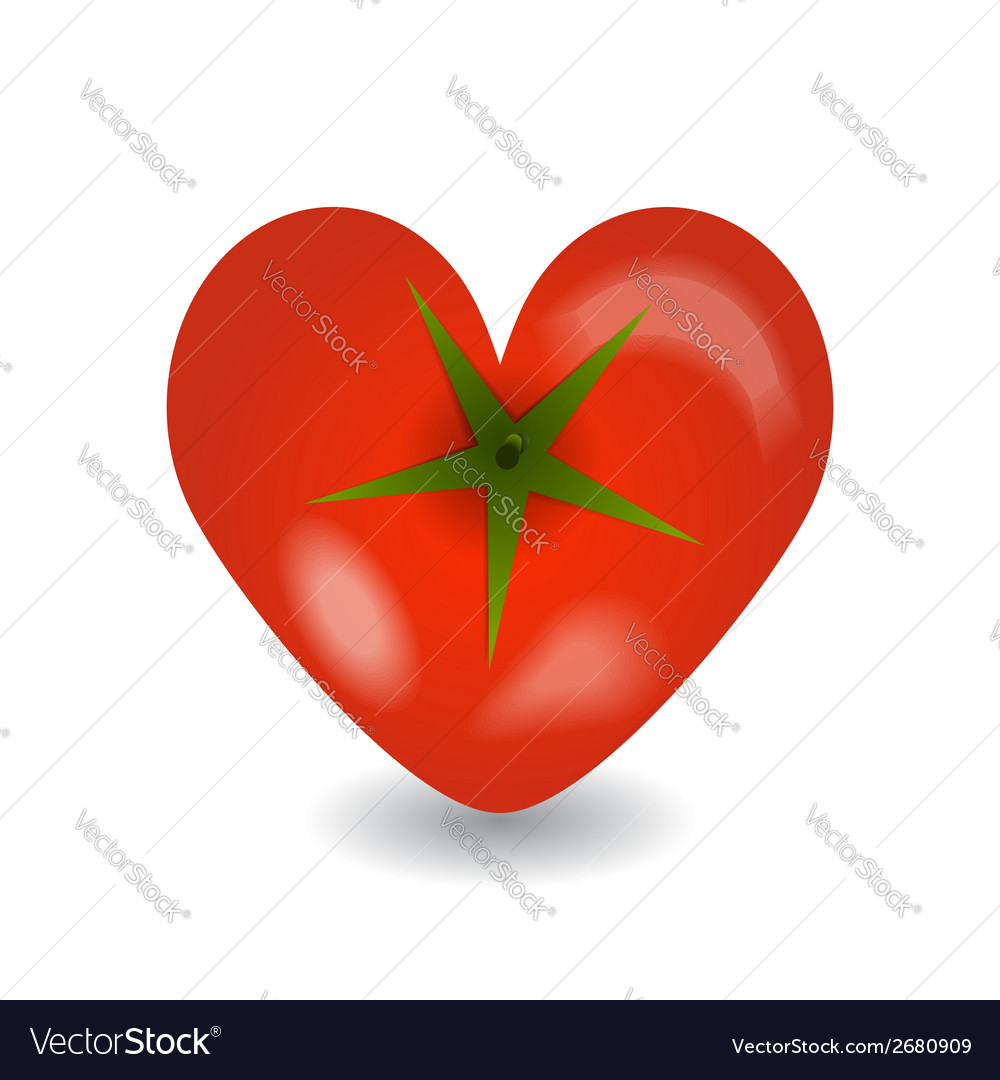 Design tomato heart icon on a white background vector | Price: 1 Credit (USD $1)
