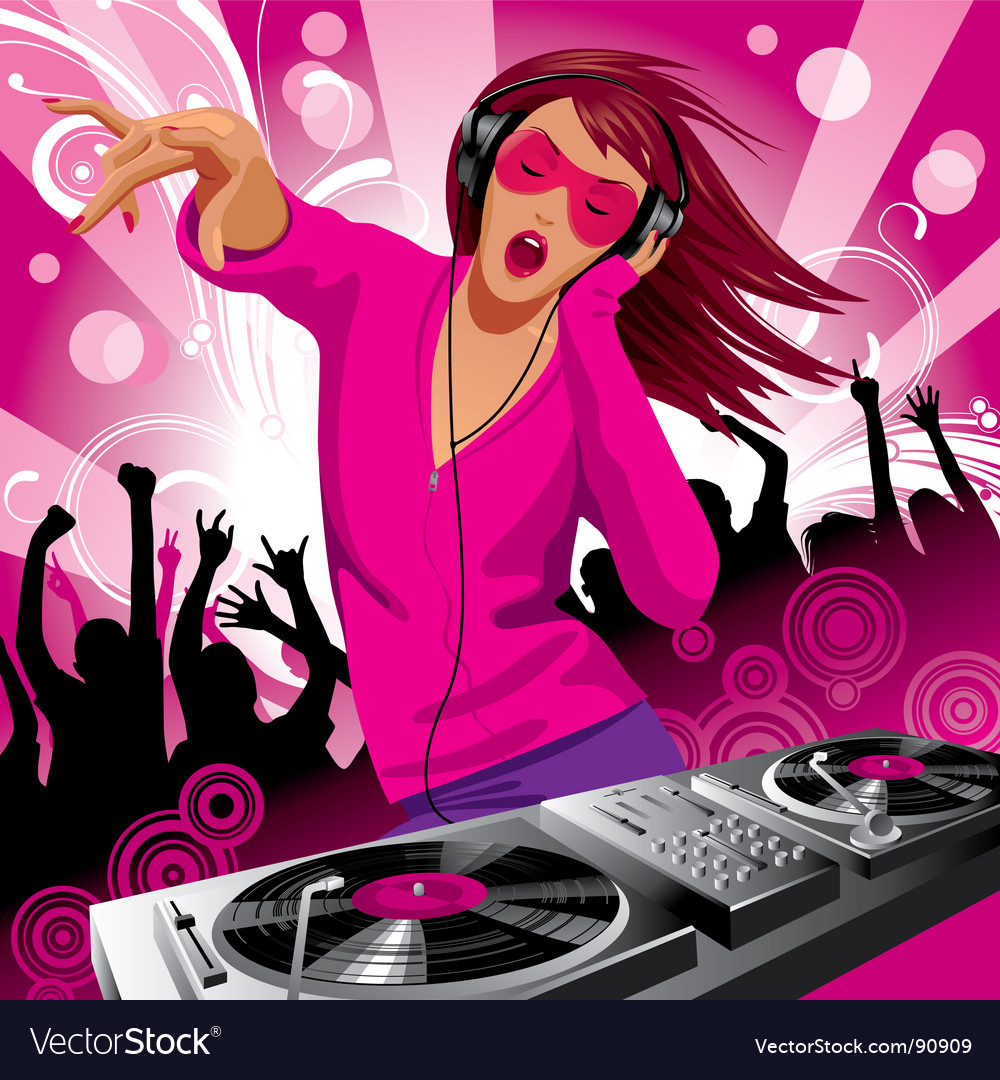 Dj girl vector | Price: 3 Credit (USD $3)