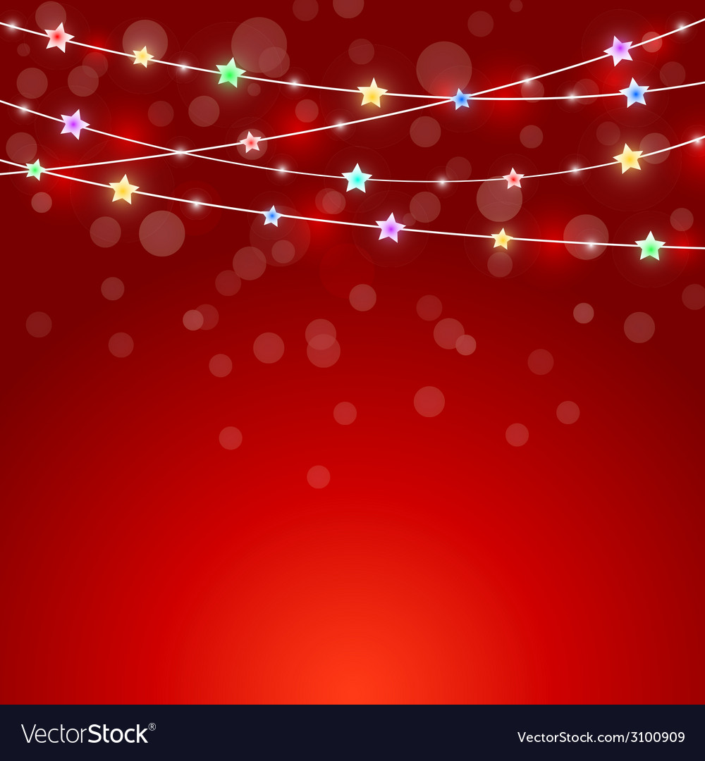 Red holiday background with colored lights and vector | Price: 1 Credit (USD $1)