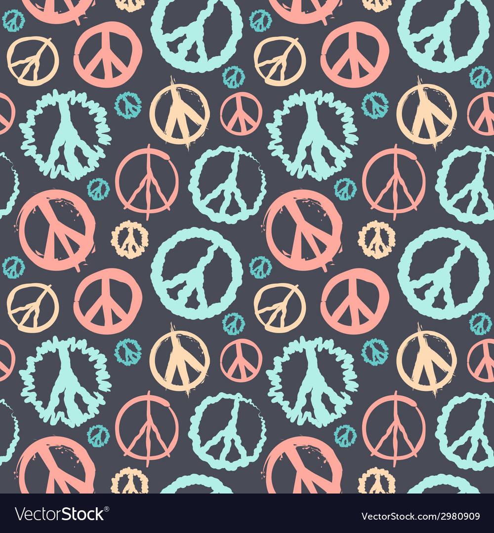 Retro peace symbol seamless vector | Price: 1 Credit (USD $1)